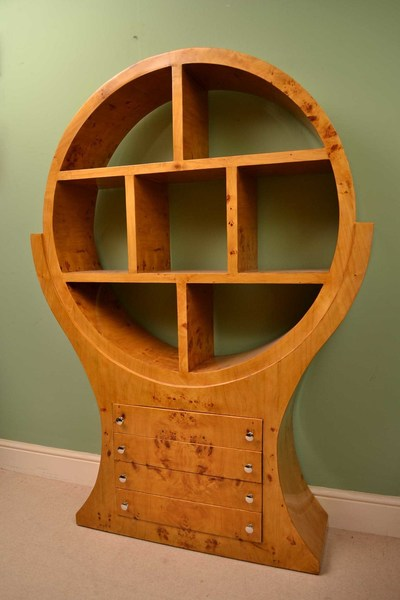 Unusual Circular Art Deco Birdseye Maple Open Bookcase
