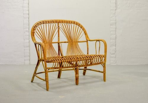 Mid Century Design Rattan Two Seat Patio Sofa In Style Of Rohé, 1950s
