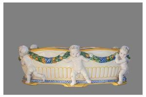 Thumb antique italian majolica white and yellow putto jardiniere della robia style 0