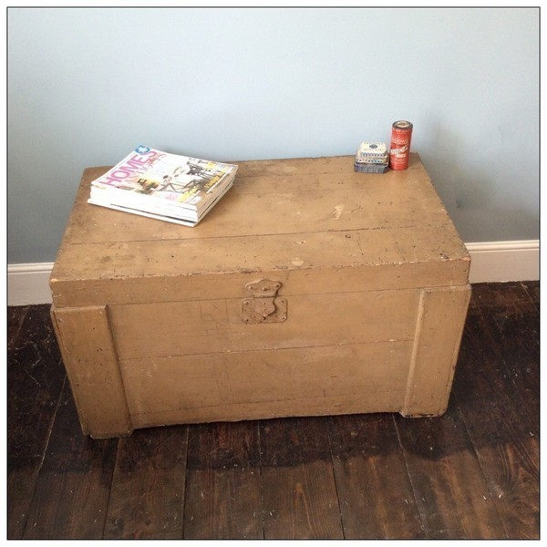 Vintage French Wooden Trunk