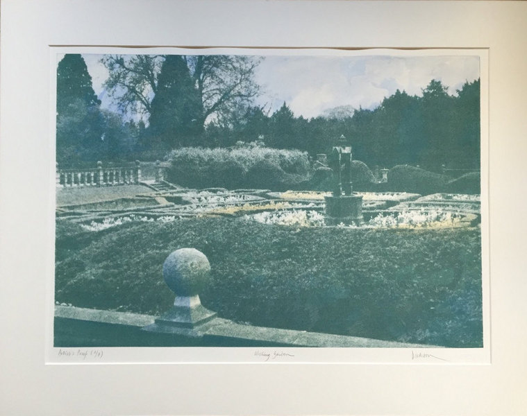 Hand Coloured Mezzo Screen Print 'Lord Byron's Wishing Garden' By Jennifer Dickson