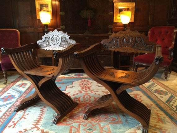 Antique Pair Of Hall Chairs 19th Century Walnut Victorian Savonarola