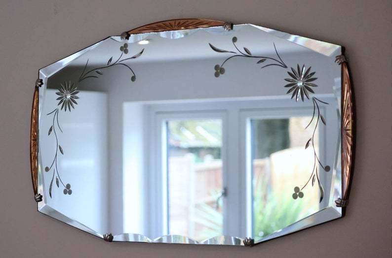 Elite Etched Mirror Art Deco Decor Dazzeling Highly Decorative Beveled Shimmers With Quality And Details Vinterior