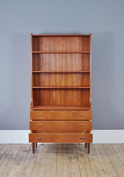 Danish Teak Bookcase With Drawers