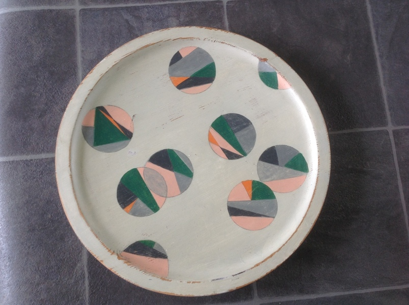 Circular Wooden Tray With Handpainted Geometric Design By Artist