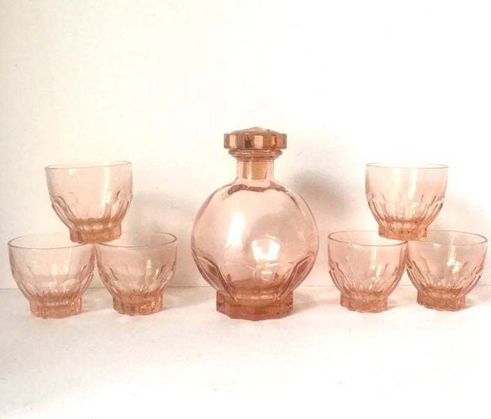 Art Deco French Pink Glass Decanter And 6 Glasses, Vintage Salmon Pink Pressed Glass Small Decanter With Matching Shot Glasses