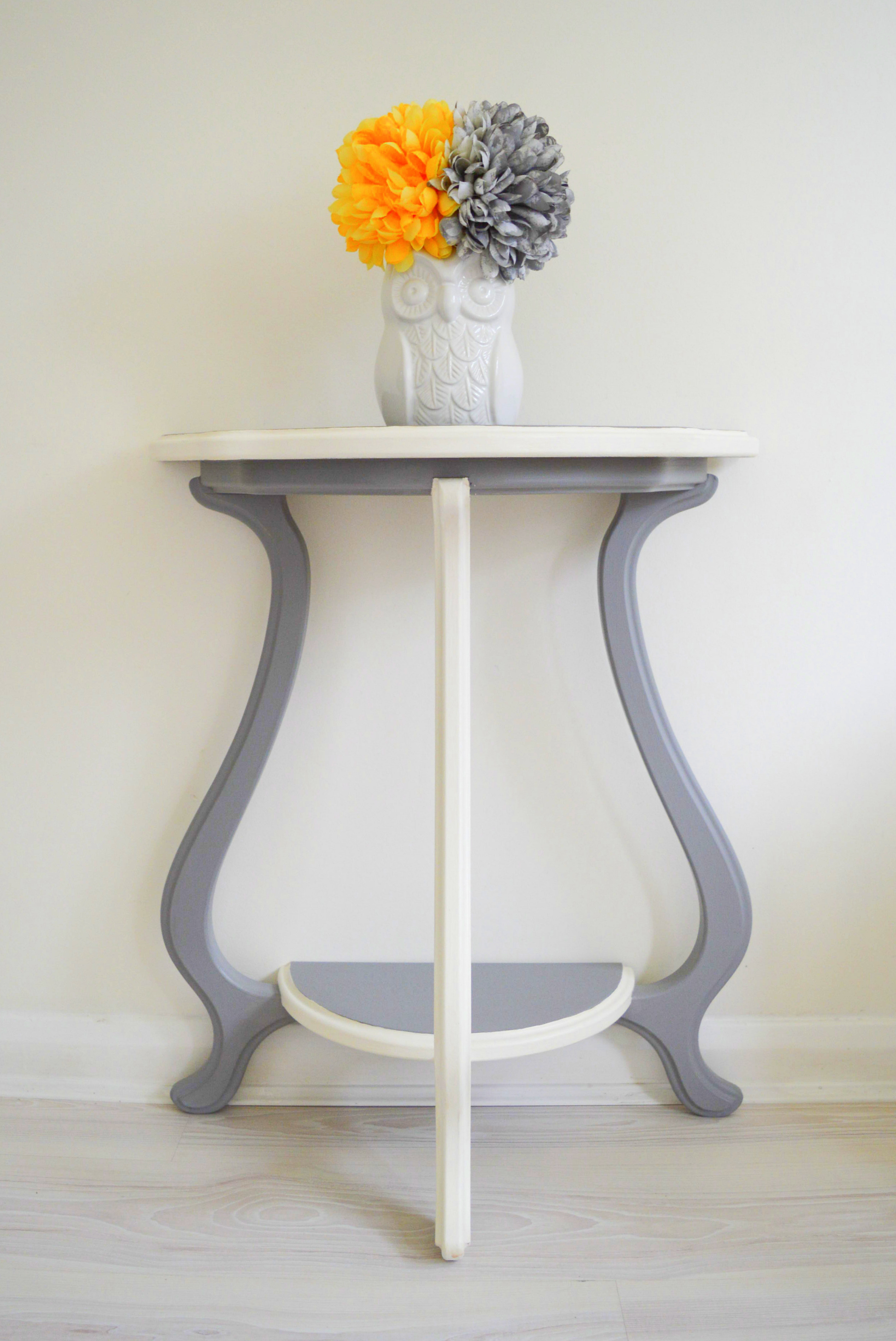 Console Table Grey Amp White Wood Half Moon Demilune Shabby