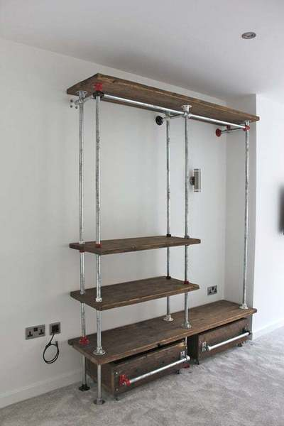 cheap for discount 48412 52a9d Belle Reclaimed Scaffolding Board And Galvanised Steel Pipe Industrial Open  Wardrobe/Dressing Room System With Powder Coated Fittings