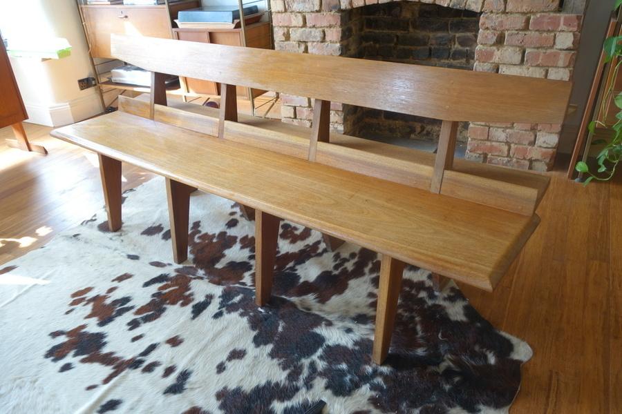 Retro Vintage Mid Century Atomic Age Church Pew Bench Dining Seat 1950s/60s