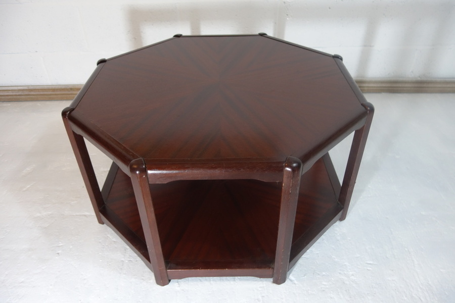 Retro Vintage Mid Century Danish Octagonal Coffee Side Table Shelf