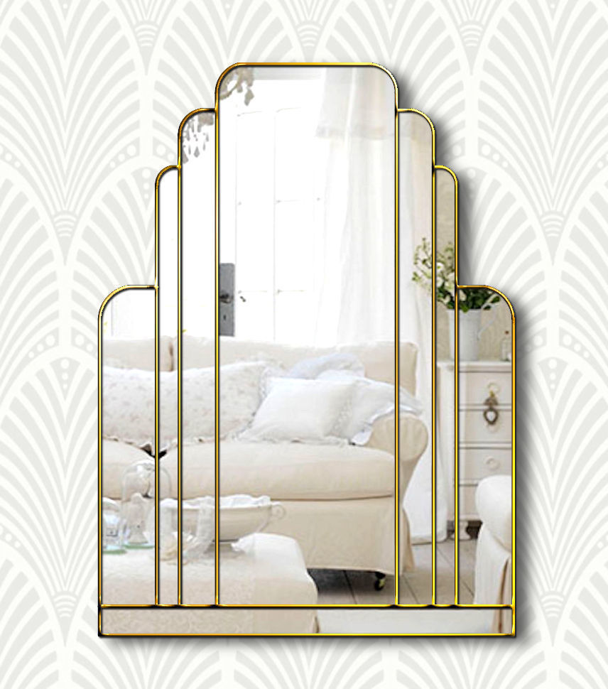 Manhattan Art Deco Over Mantle Wall Mirror With A Gold Trim Handmade In The Uk Phillip Orr Vinterior