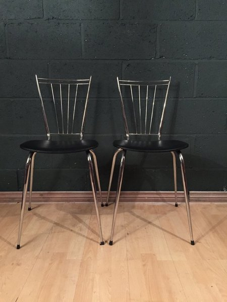 2 Retro Vintage Mid Century Tubmenager Chrome French Dining Chairs