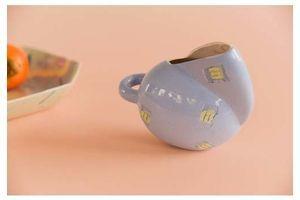Thumb vintage small contemporary studio pottery glazed lilac jug 0