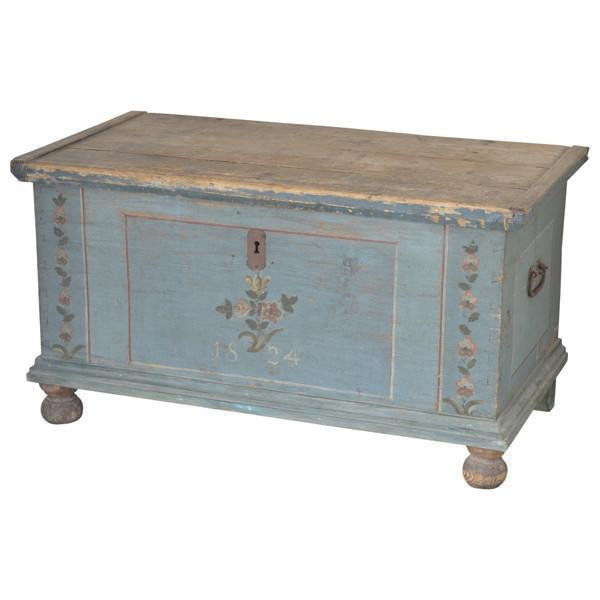 Blue Painted Coffer, Dated 1824, Austria