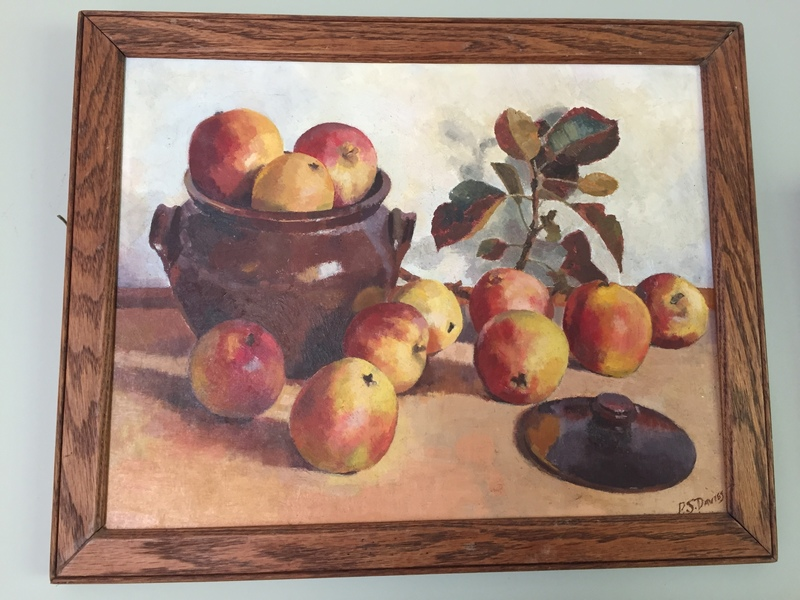 Mid Century French Still Life Apples And Confit Jar