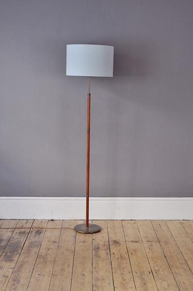 Teak Floor Lamp With Brass Ring Details photo 1