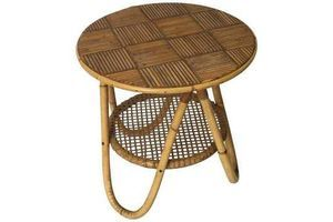 Thumb french riviera side table in bamboo and cane circa 1950 0
