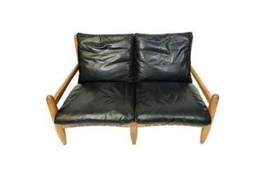 Thumb golden oak and leather sofa with leather webbing straps circa 1960 0