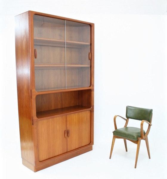 Large Vintage Teak 'Dyrlund' Danish Tambour Door Display Cabinet/ Wall Unit