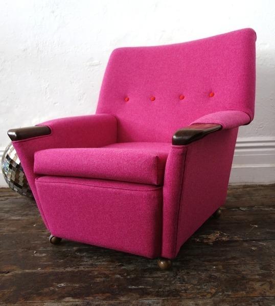 Mid Century Wheelie Pink Armchair