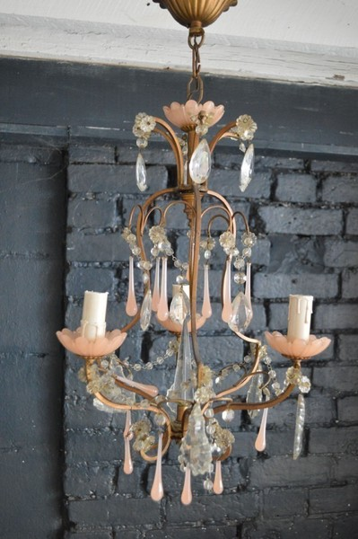 French Chandelier With Pink Droplets