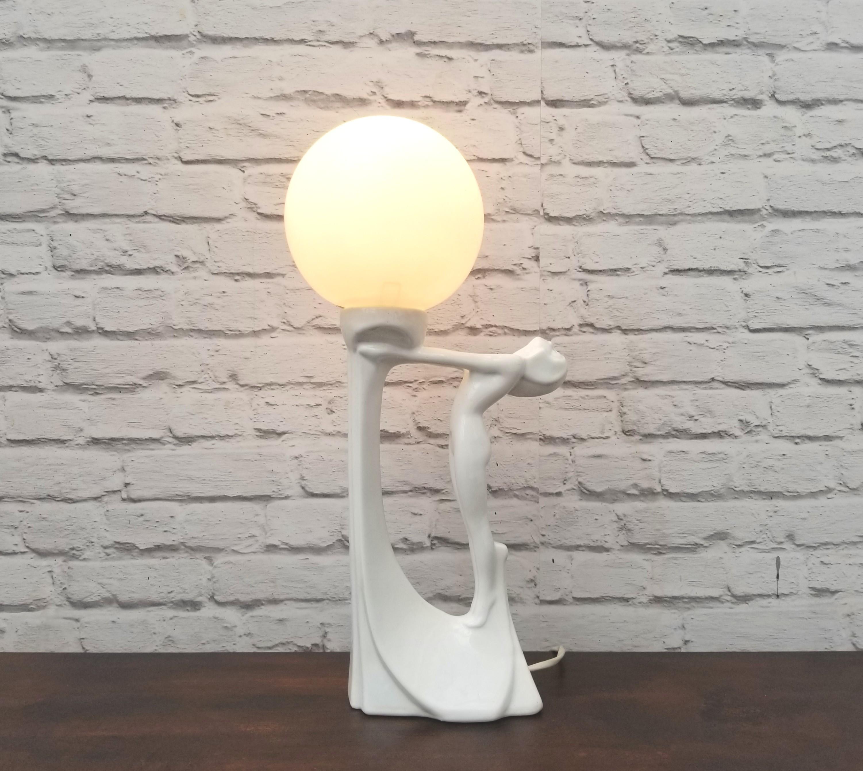Vintage Lady Lamp Globe Table Lamp Art Deco White Vinterior