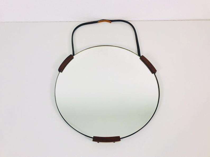 Mid Century Teak Framed Hanging Wall Mirror Round Glass Italy 1960s Vinterior