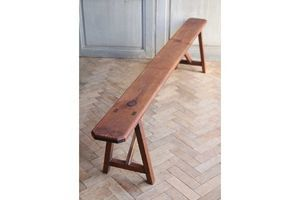 Thumb vintage antique french pitch pine wooden bench 0