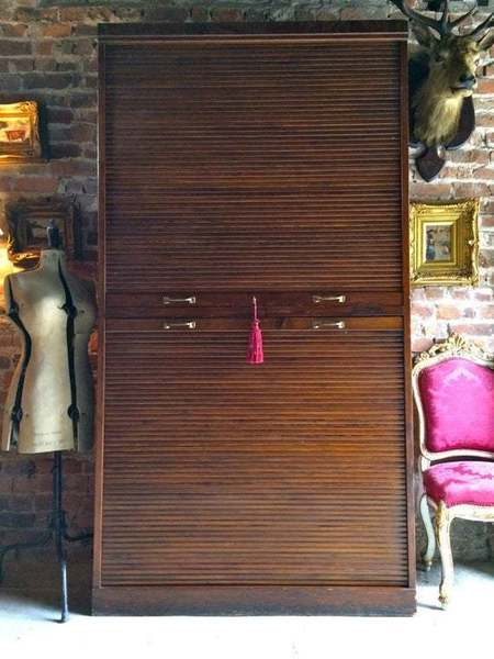 Fabulous Vintage Tambour Fronted Cabinet Storage Shop Display Early 20th Century