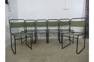 Thumb vintage retro industrial style six cox green metal and canvas stacking chairs 0