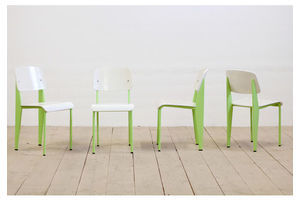 Thumb 4 vintage mid century modernist green white dining chairs after jean prouve 0