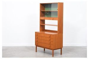 Thumb 1970s teak storage bay with glass cabinet 0