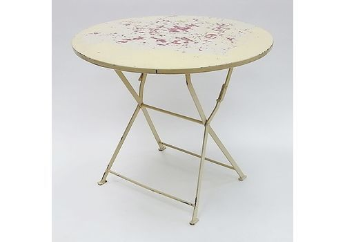 Round French Industrial Folding Table, 1960s