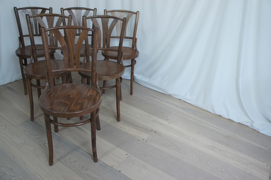Set Of 6 French Bentwood Bistro Chairs