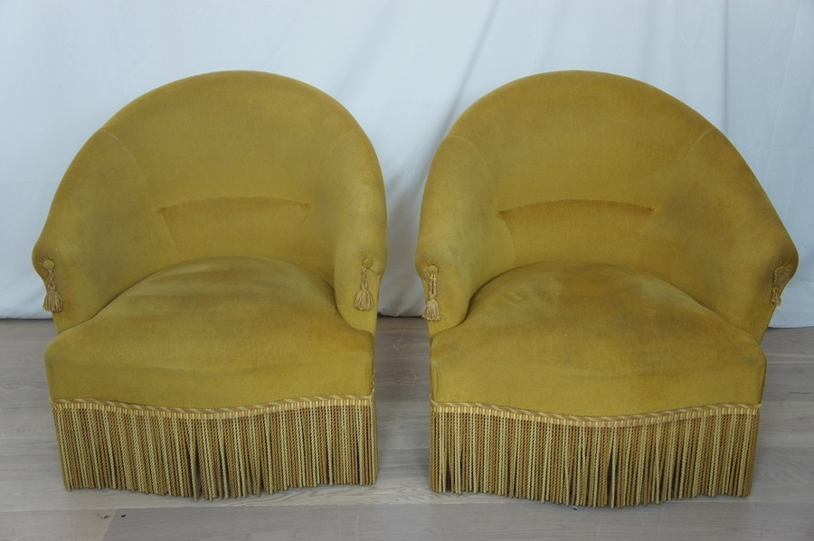 Pair Of 1930's French Crapaud / Tub Chairs