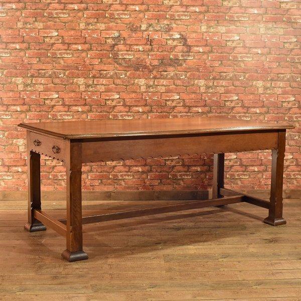 Arts & Crafts Oak Table, Liberty Quality C.1900