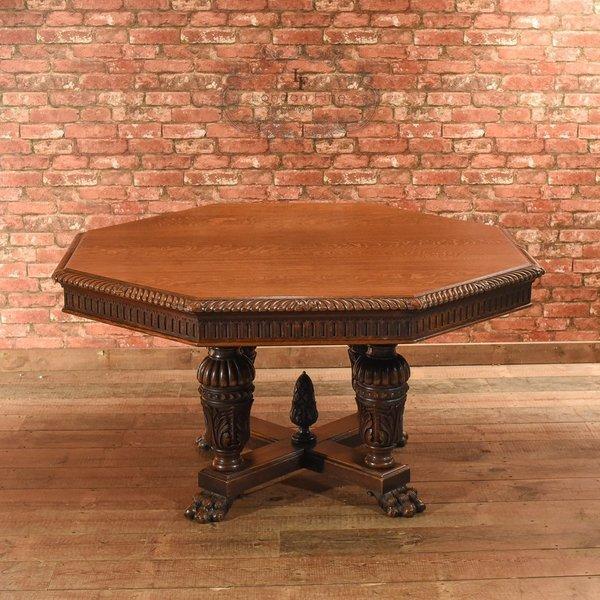 Victorian Octagonal, Oak Dining Table, C.1850