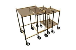 Thumb mid century modern set of brass and smoked glass nesting tables circa 1960 0