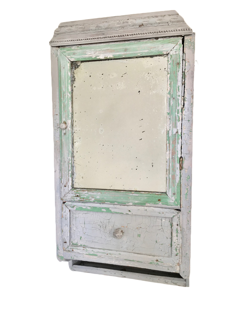 Vintage Wooden Bathroom Medicine Cabinet With Foxed Mirror And Distressed Paint Finish Unknown Vinterior