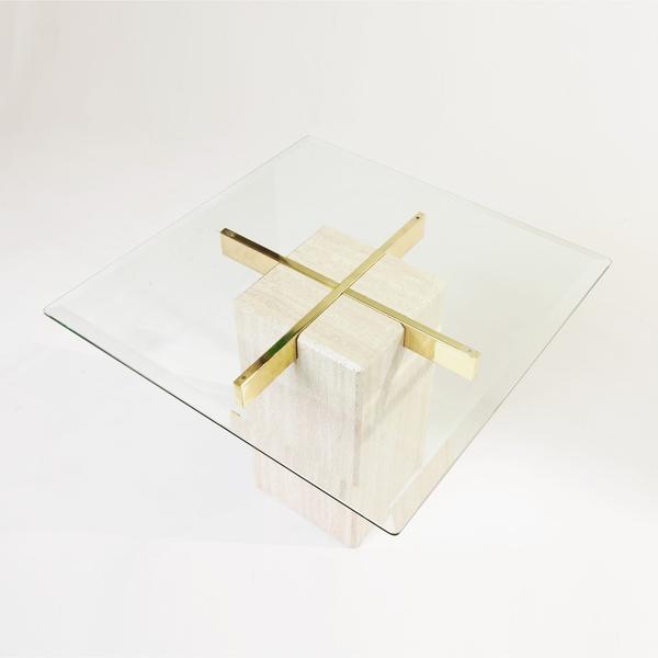 Artedi Travertine Brass Square Side Table On Hold