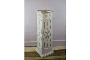 Thumb antique mahogany pedestal column in old cream coloured paint 0