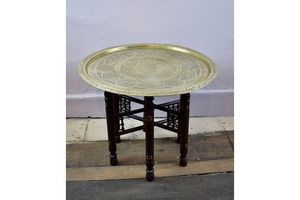 Thumb middle eastern engraved brass tray table on mother of pearl inlaid folding stand 0