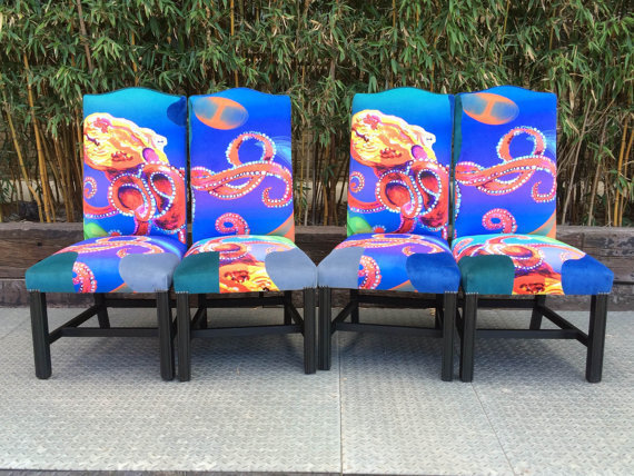 Money For Nothing Four Original Ray Clarke Galactic Octopus Dining Chairs