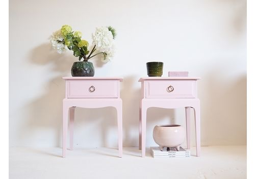 Bedside Tables/ Pink Bedside Cabinets/ Mid Century End Tables/ Stag Night Stands