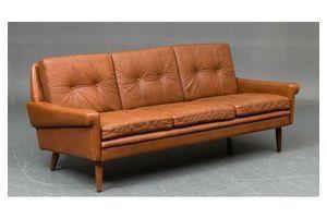 Thumb vintage retro danish cognac svend skipper leather 3 seater sofa 1966 1960s 0