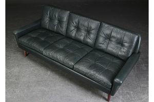Thumb vintage retro danish svend skipper bottle green leather 3 seater sofa 1960s 0