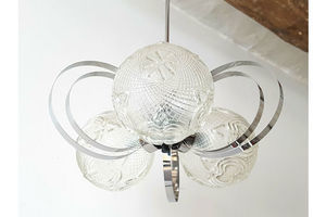 Thumb lustre ceiling lamp vintage 1970 steel glass 70s 70 s space age pop years 70 0
