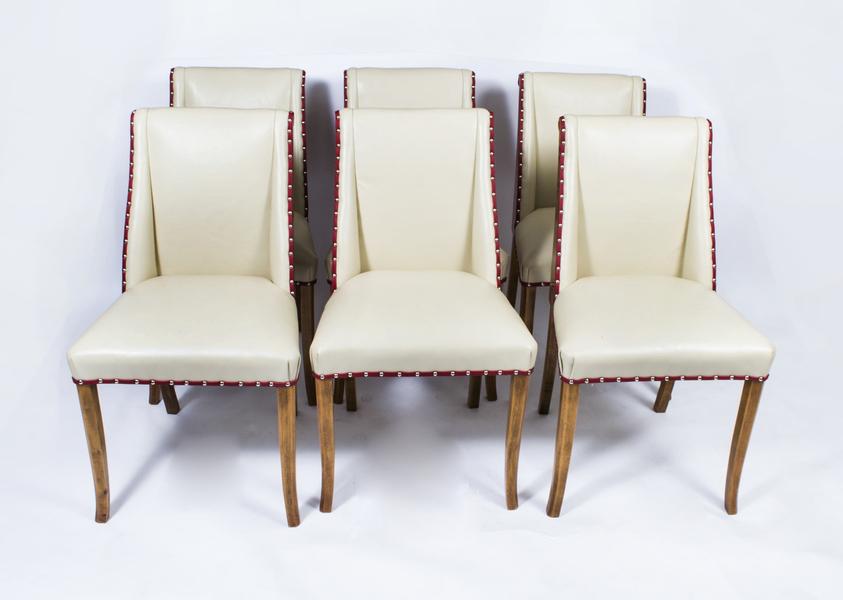 Set Of 6 Burr Walnut Dining Chairs Art Deco C1930 photo 1