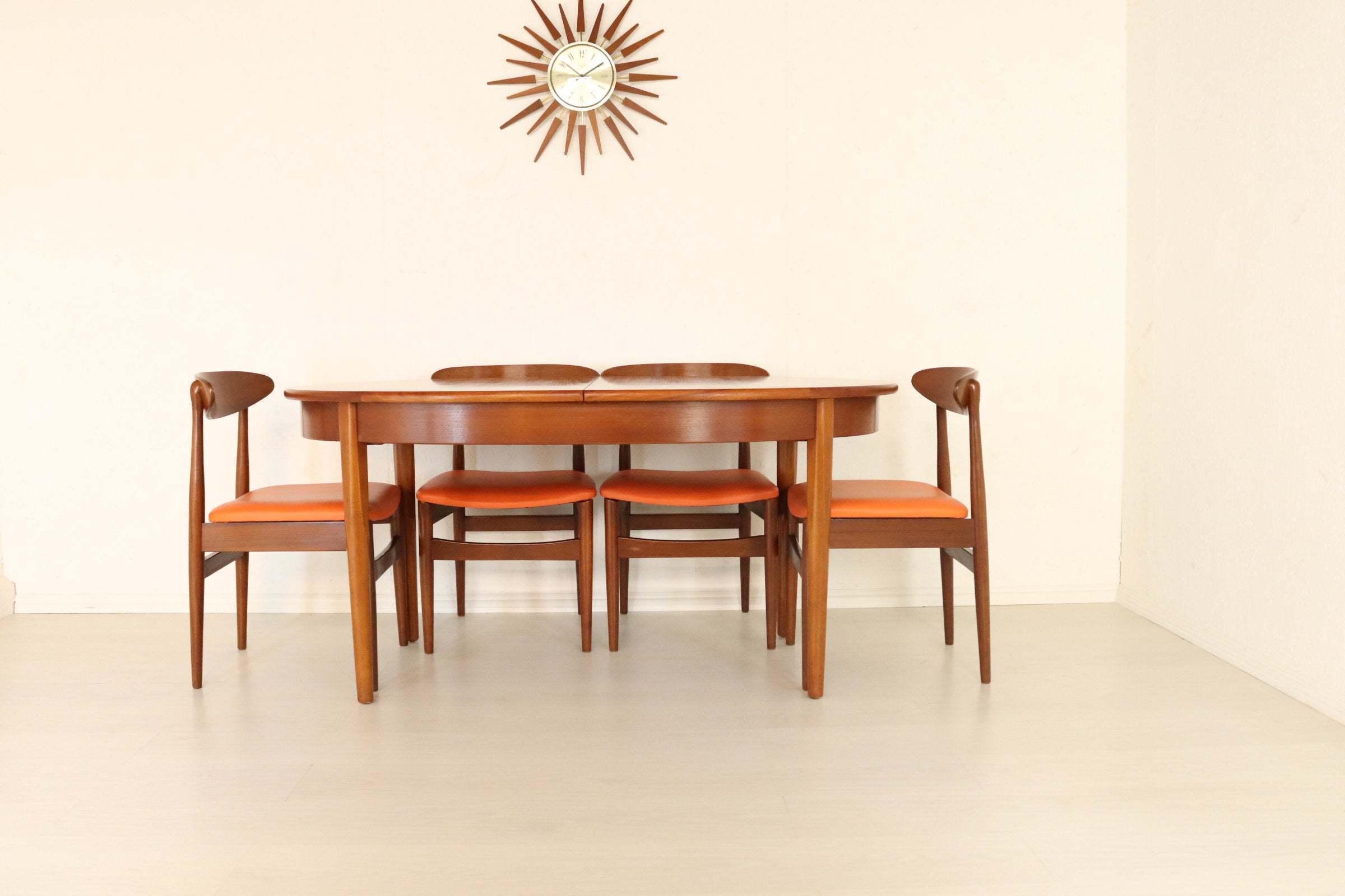 Mid Century Teak Jentique Extendable Dining Table Four Dining Chairs Orange Vinyl Retro Vintage Dining Set Refurbished Condition Jentique Vinterior