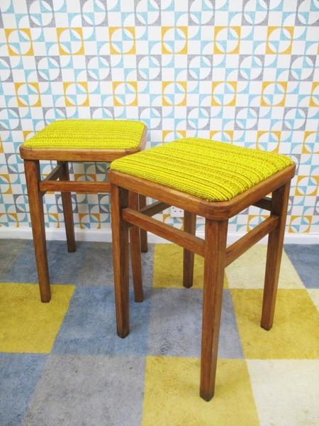 Incredible Pair Vintage 1970S Wooden Yellow Tweed Kitchen Stools Retro Mid Century Home Pdpeps Interior Chair Design Pdpepsorg